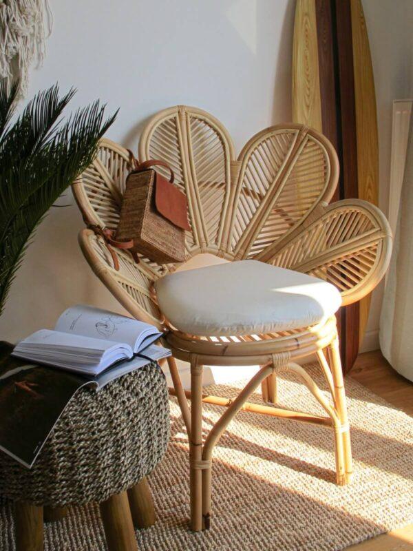 krzeslo fotel stokrotka kwiat boho rattan