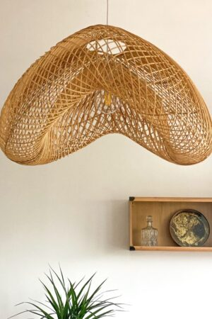 naturalna lampa rattanowa ufo