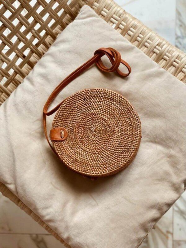 torebka okrągła pleciona