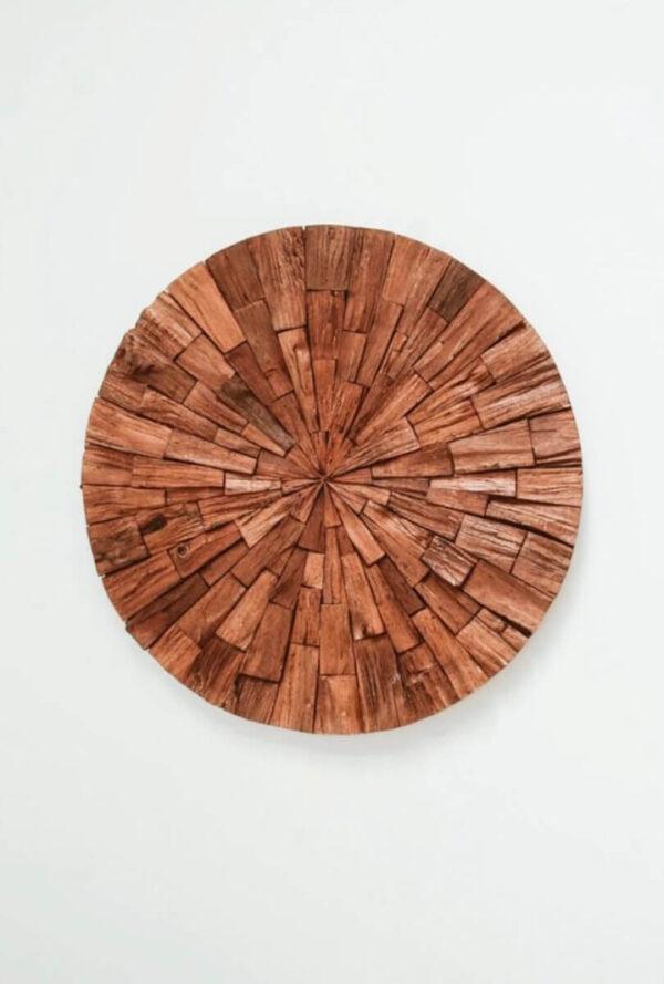 okrągły obraz z drewna