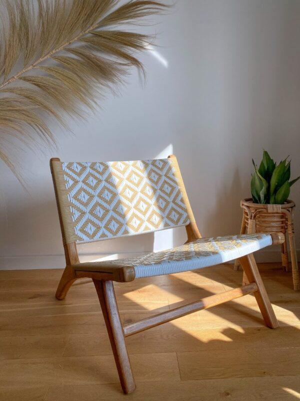 fotel drewniany rattan