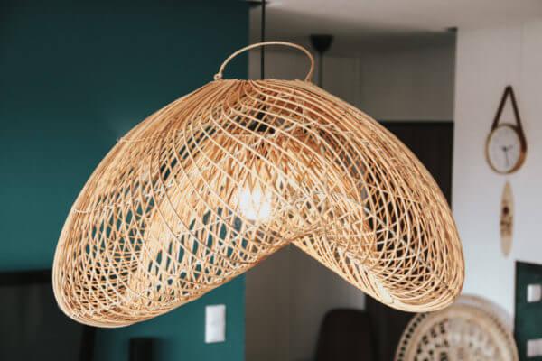 lampa rattanowa boho bali naturalna drewniane kulki ufo