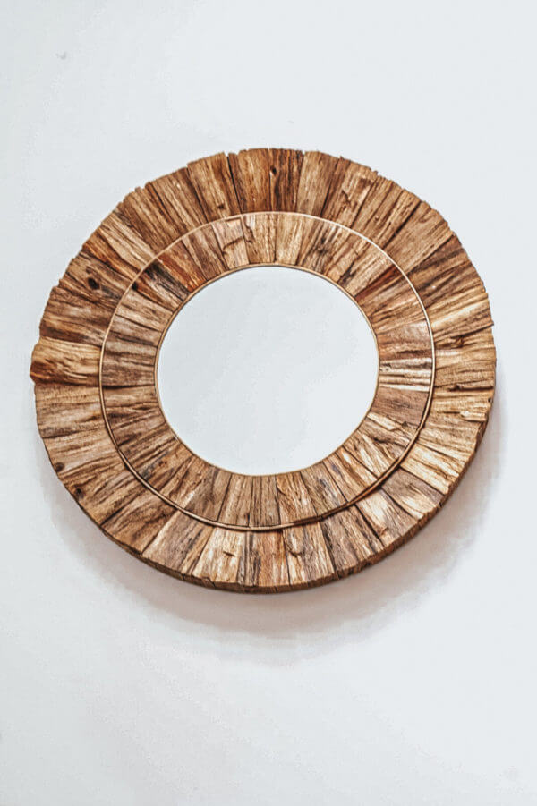 lustro drewniane bali boho