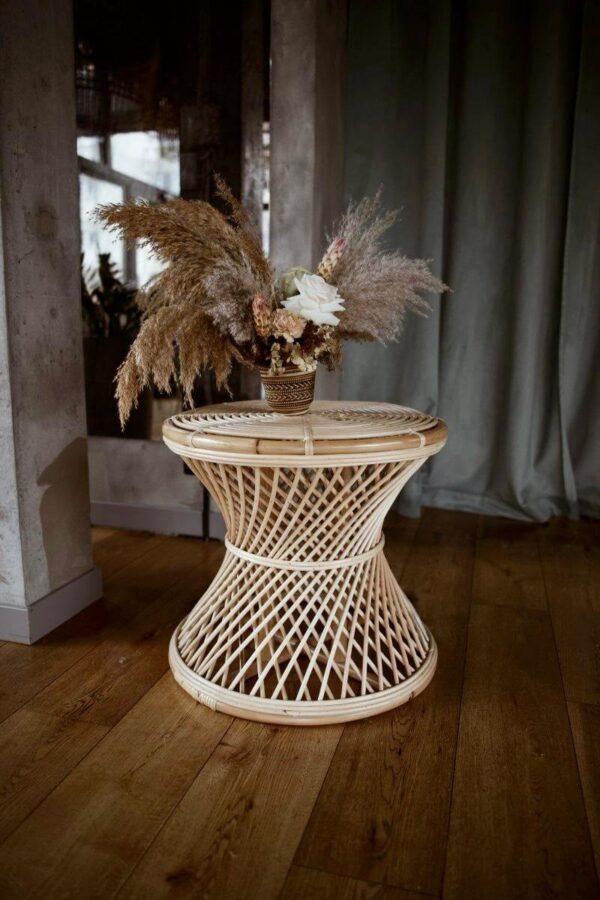stolik rattanowy okragly boho meble