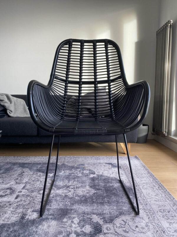 krzeslo rattanowe czarne