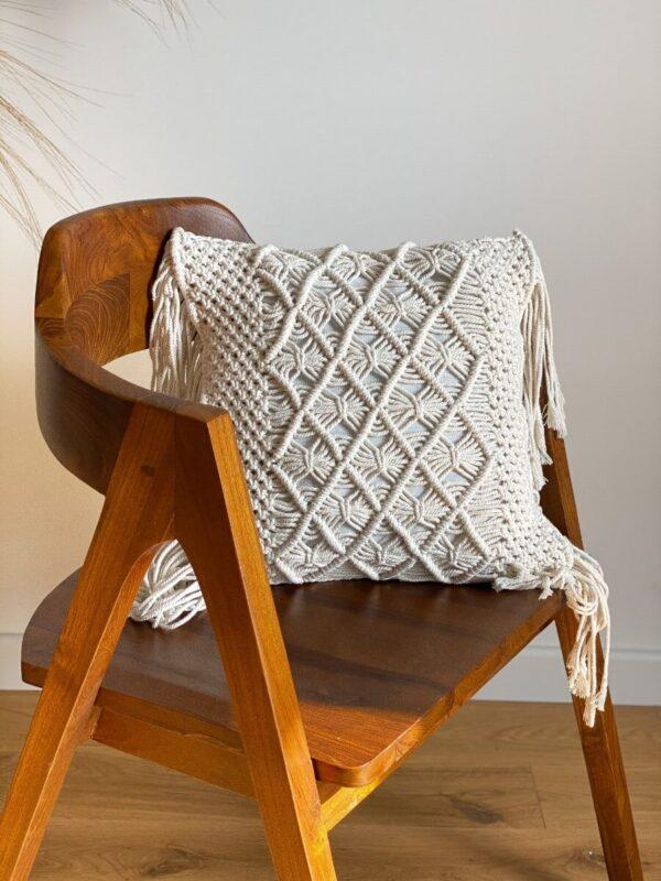 tekowe krzeslo makrama